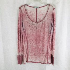 MAURICES Pink Burnout Bling Top L